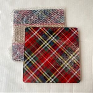 2 Red Christmas Plaid Cutting Boards - 1 New 1 use